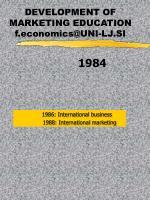 development of marketing education f economics@uni lj si5