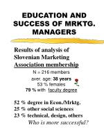 education and success of mrktg managers