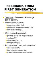 feedback from first generation12