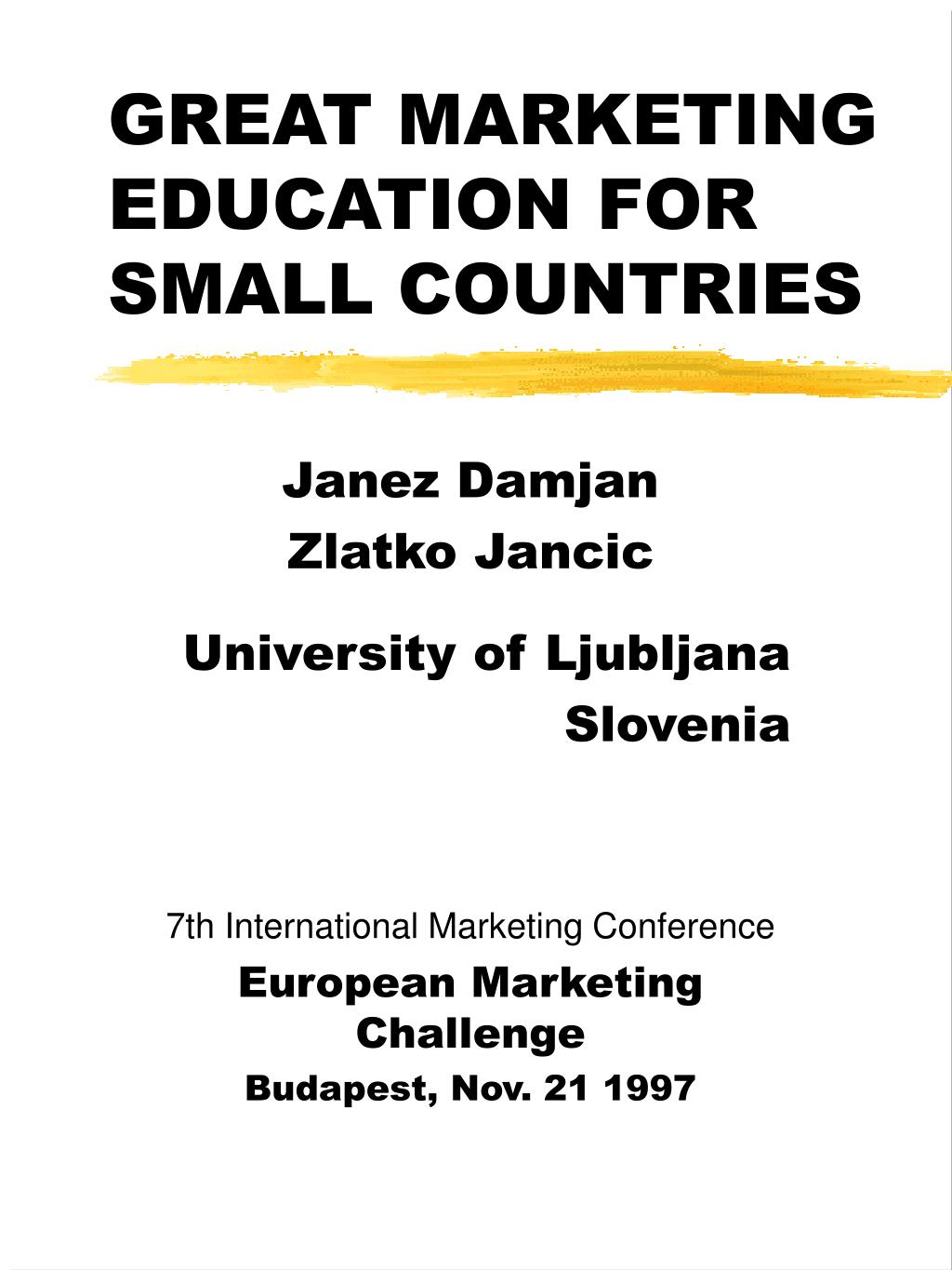 great marketing education for small countries l.