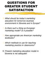 questions for greater student satisfaction