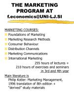 the marketing program at f economics@uni lj si