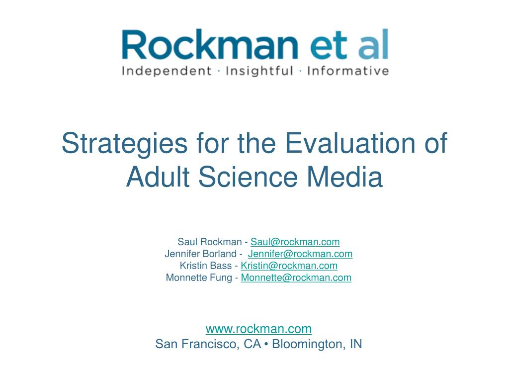 strategies for the evaluation of adult science media l.