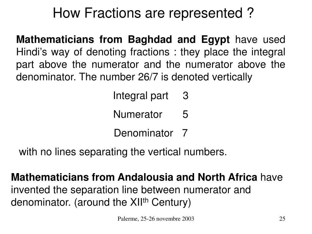 How Fractions are represented ?