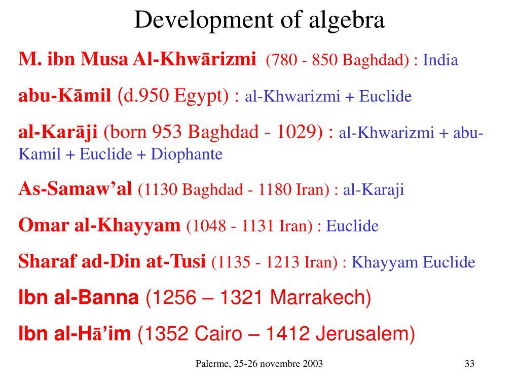 Development of algebra