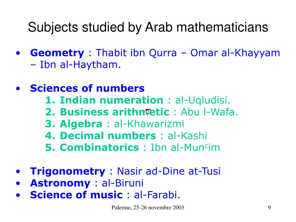 Subjects studied by Arab mathematicians