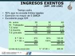 ingresos exentos art 109 lisr