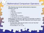 mathematical comparison operators
