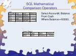 sql mathematical comparison operators