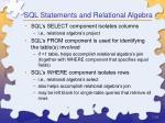 sql statements and relational algebra