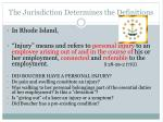 the jurisdiction determines the definitions