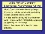 a big phrma company experience five projects 05 06