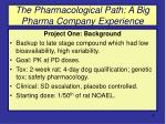 the pharmacological path a big pharma company experience