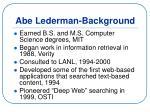 abe lederman background
