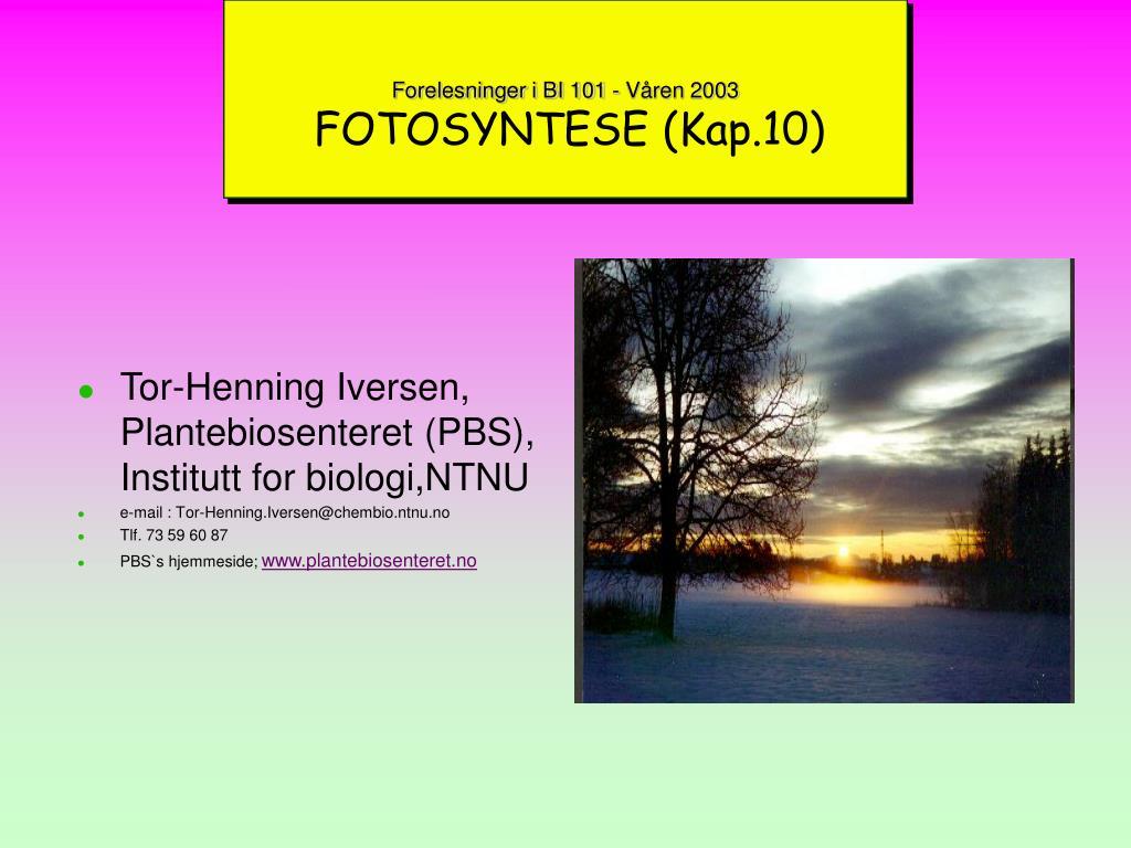 forelesninger i bi 101 v ren 2003 fotosyntese kap 10 l.