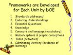 frameworks are developed for each unit by doe