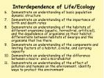 interdependence of life ecology55
