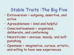 stable traits the big five