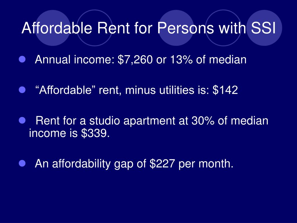 Affordable Rent for Persons with SSI
