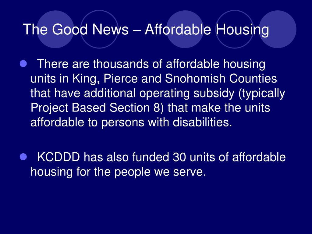 The Good News – Affordable Housing
