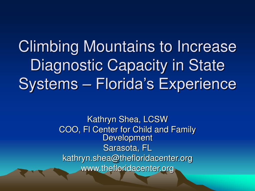 climbing mountains to increase diagnostic capacity in state systems florida s experience l.
