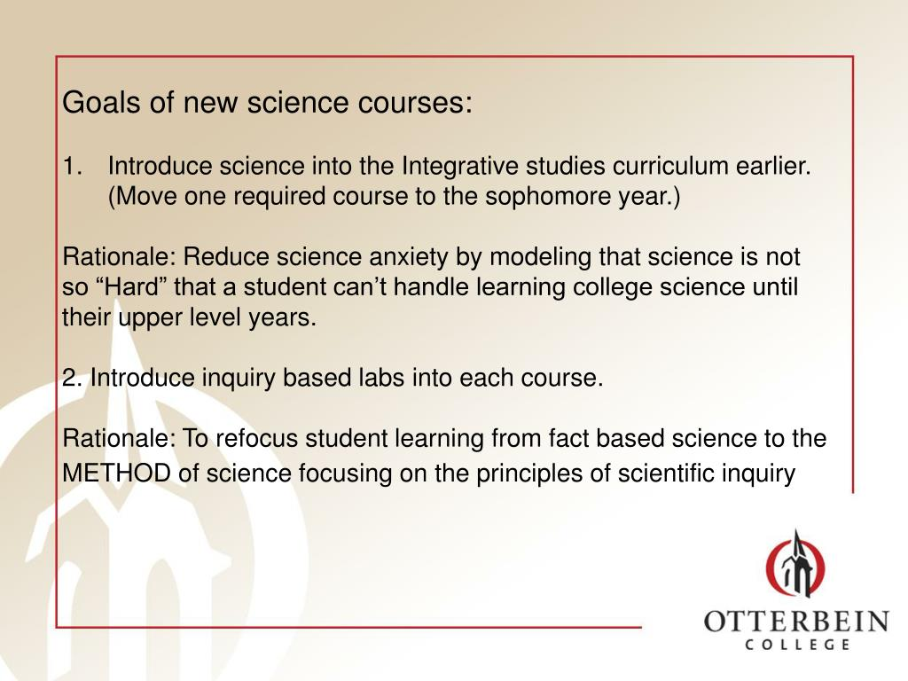 Goals of new science courses: