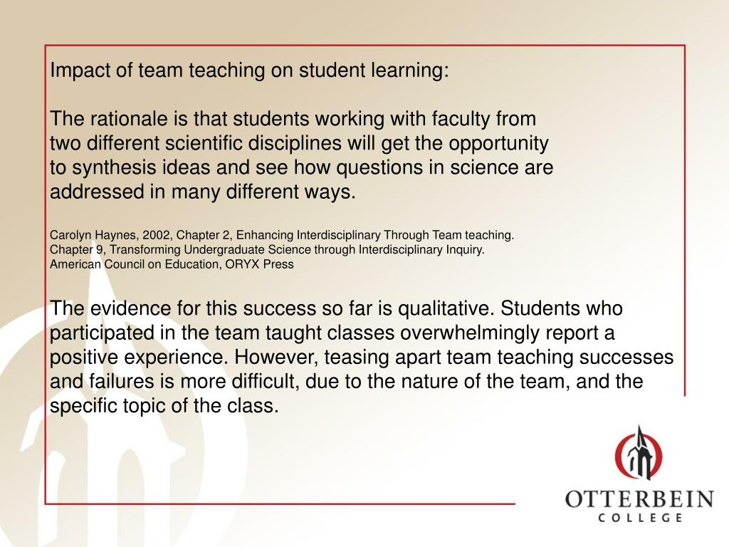 Impact of team teaching on student learning: