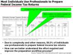 most individuals use professionals to prepare federal income tax returns