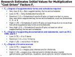 research estimates initial values for multiplicative cost driver factors f i