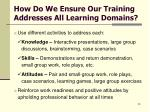 how do we ensure our training addresses all learning domains