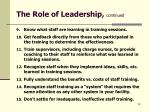 the role of leadership continued