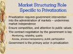 market structuring role specific to privatization