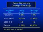 seton fistulotomy cutting v two stage