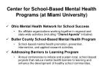 center for school based mental health programs at miami university