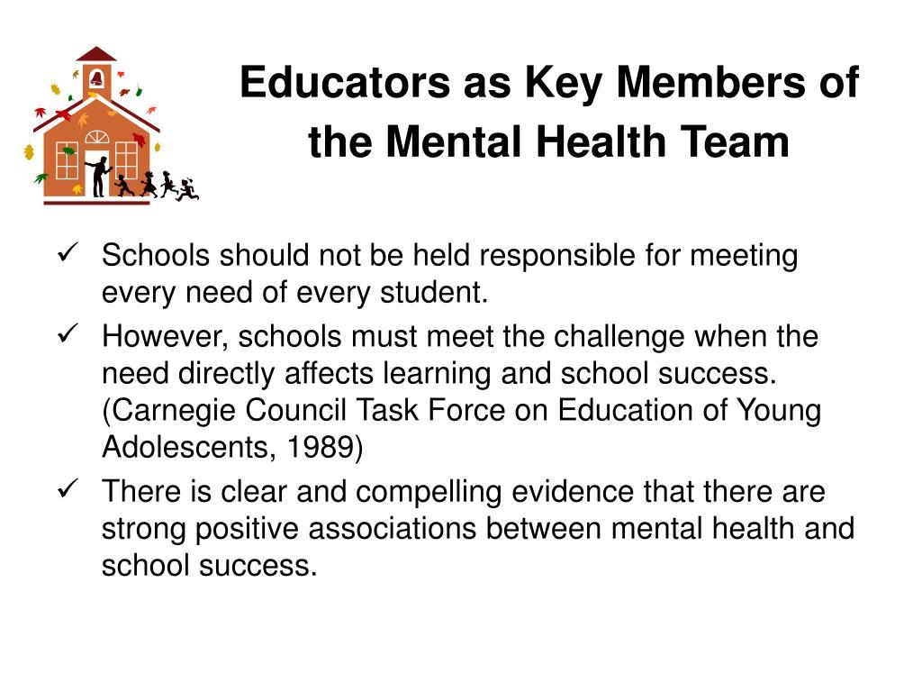 Educators as Key Members of the Mental Health Team