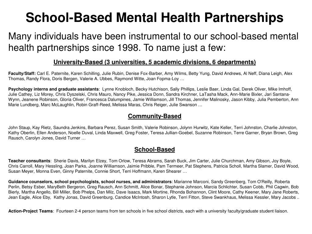 School-Based Mental Health Partnerships