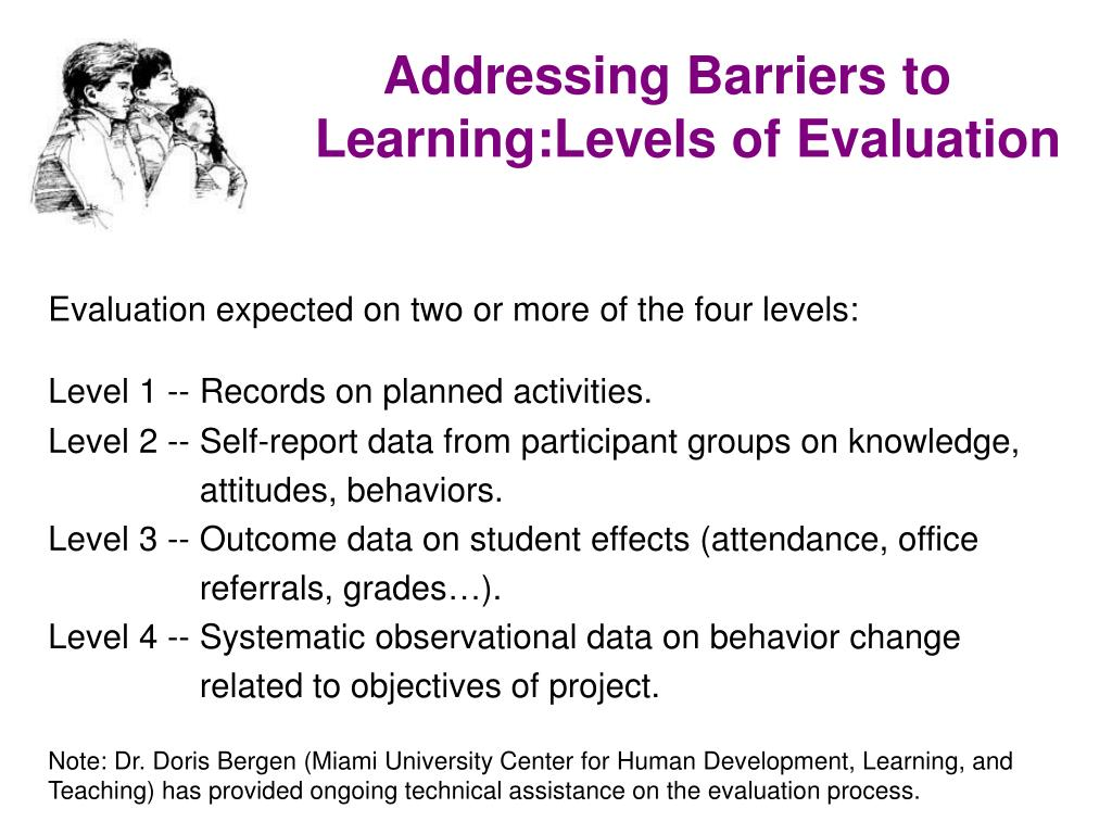 Addressing Barriers to Learning:Levels of Evaluation