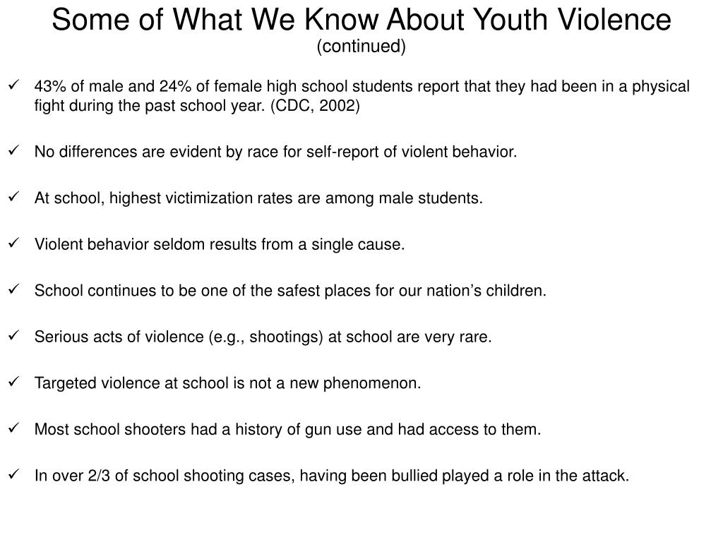 Some of What We Know About Youth Violence