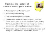 strategies and features of various shared agenda forums118