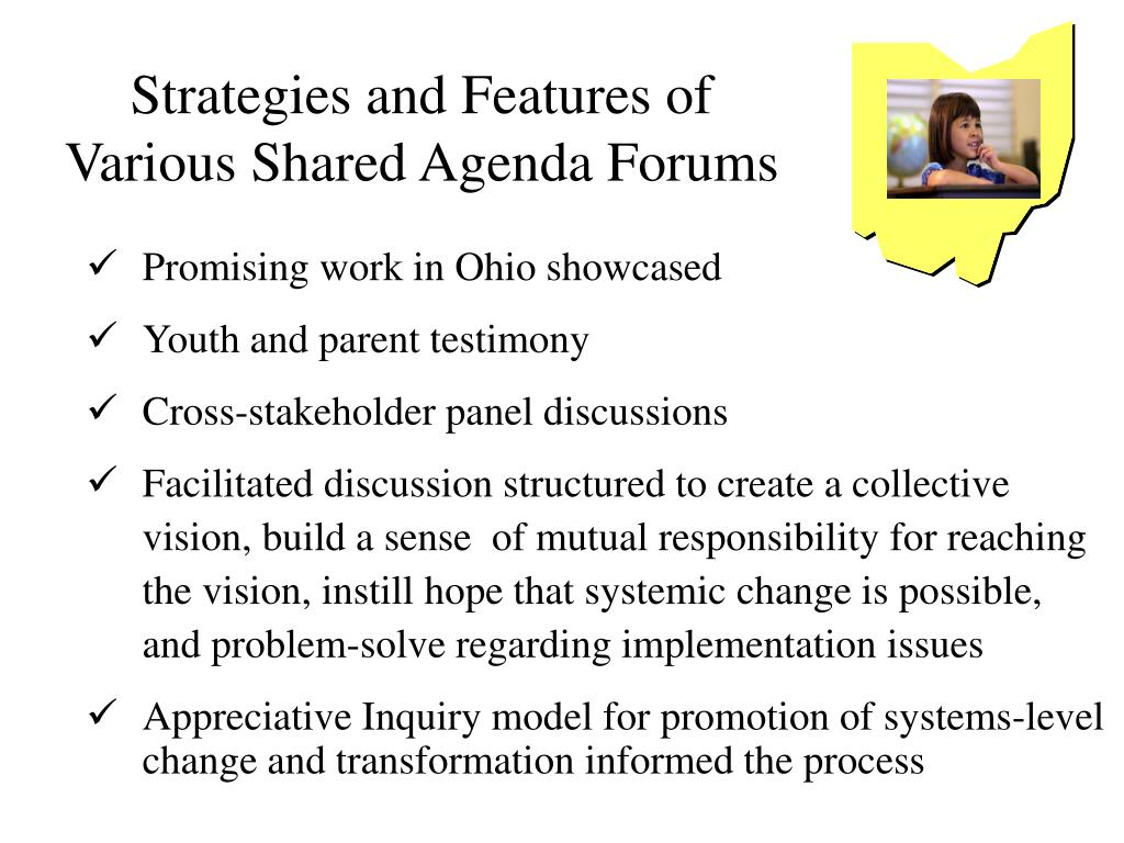 Strategies and Features of Various Shared Agenda Forums
