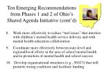 ten emerging recommendations from phases 1 and 2 of ohio s shared agenda initiative cont d39