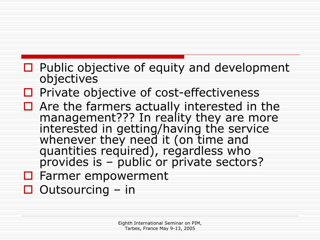 Public objective of equity and development objectives