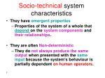 socio technical system characteristics