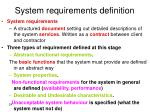 system requirements definition