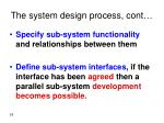 the system design process cont