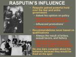 rasputin s influence