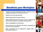 beneficios para municipios