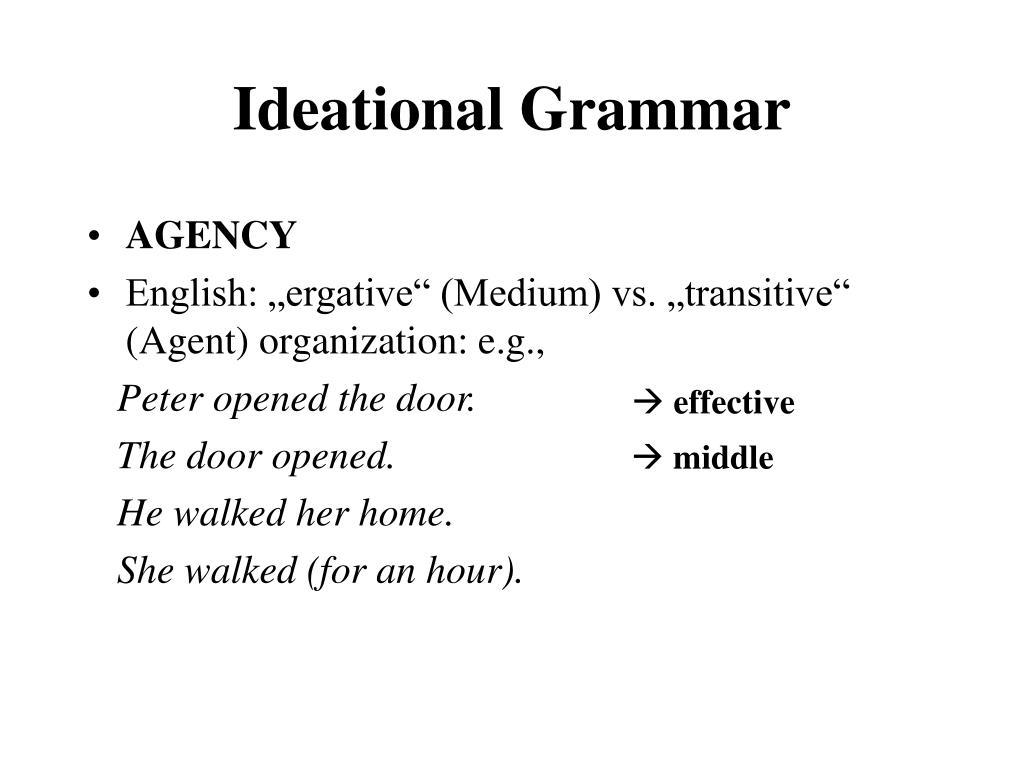 Ideational Grammar