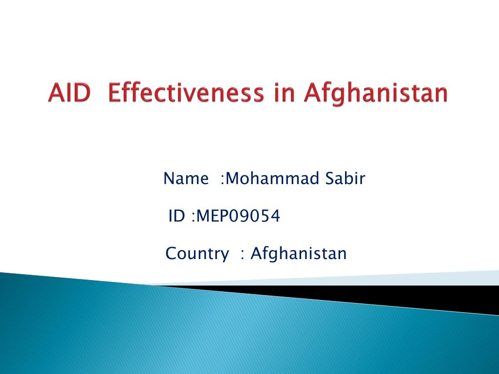 aid effectiveness in afghanistan l.