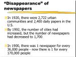 disappearance of newspapers